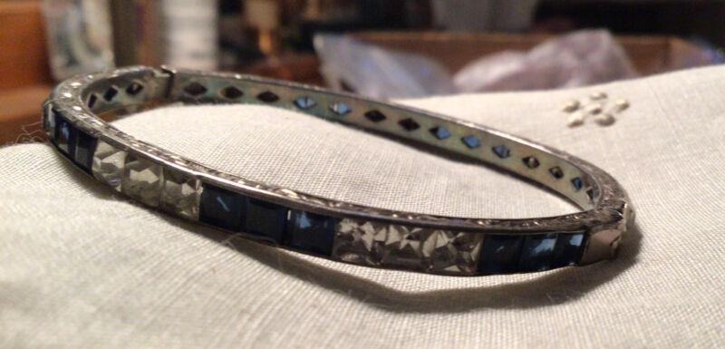 Vintage Art Deco Sterling Silver Colbalt Blue Clear Hinged Bangle Bracelet