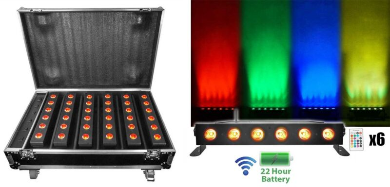 Rockville 6 Battery Powered Rechargeable Strip Lights+Wireless DMX+Charging Case