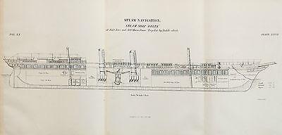 Antique 1850s Nautical Maritime Folding Print, Plan, Drawing - Steam Ship Delta