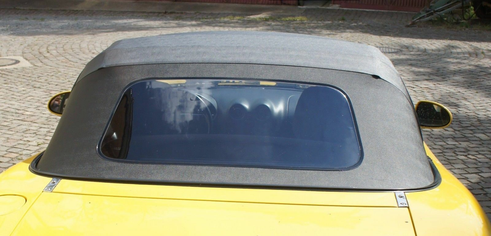 Mazda MX5 Verdeckbezug schwarz NB mit Kunststoffscheibe incl Regenrinne PVC  A
