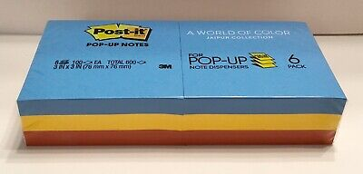 Post-it Pop Up Notes 3 X 3 100 Sheetspad Jaipur Blue Yellow Red 6 Pads