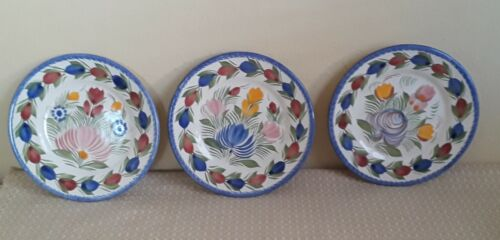 3 Henriot Quimper Fleuri Royal Bread Plates F.176-France-NB- Signed