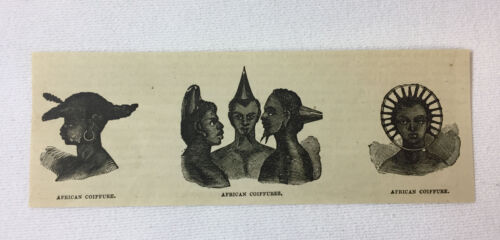 1877 magazine engraving ~ AFRICAN COIFFURE