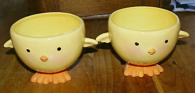 Hallmark Yellow Chick Footed Bowls Easter Candy Container Ceramic Bisque