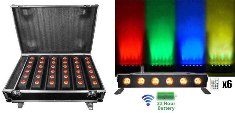 Rockville Best Strip 60 Pack Black (6) Battery Lights+Wireless DMX+Charging Case