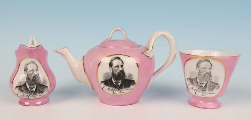 Charles Conybeare English Politician MP Portrait Tea Set Cornwall Victorian Pink