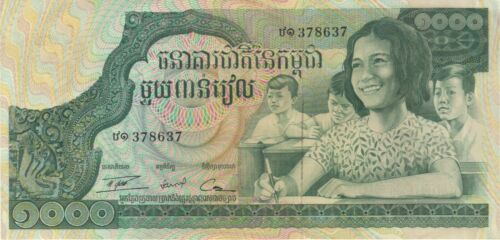 1973 1000 RIELS CAMBODIA CURRENCY LARGE UNC BANKNOTE NOTE MONEY BANK BILL CASH