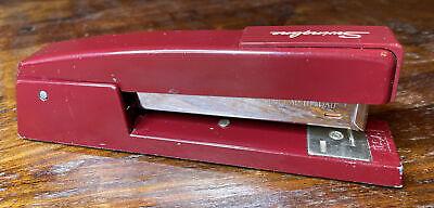Vintage Maroon Burgundy Wine Red Metal Swingline 747 Desk Stapler Made In Usa