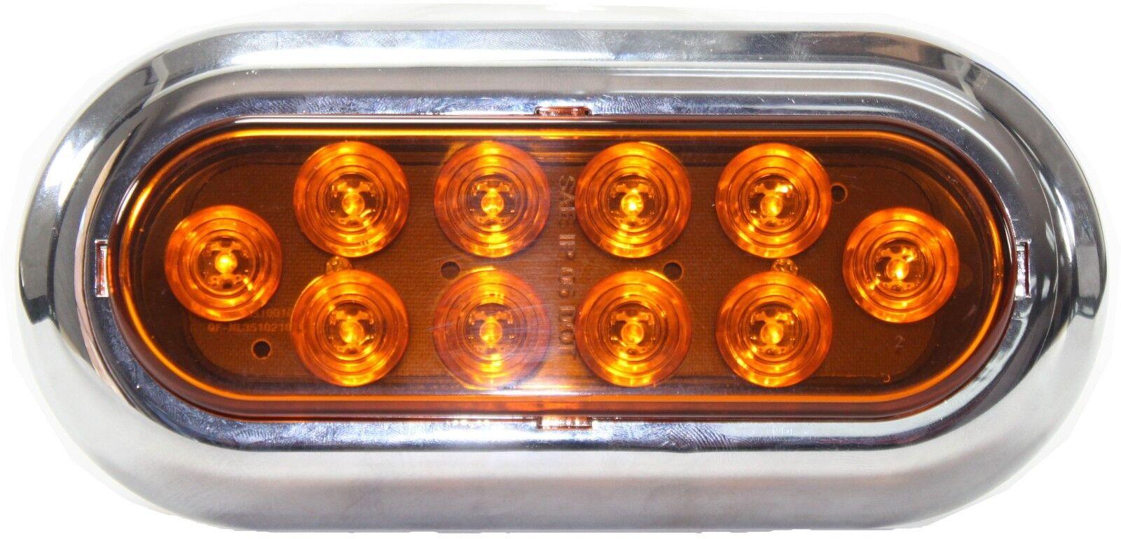 "Amber Oval 6/"" Surface Mount LED Turn Signal Light Trailer Truck w Chrome Bezel"
