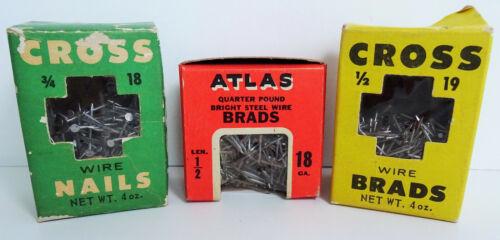 """Cross Wire Nails ¾"""" x 18, Wire Brads ½"""" x 19, Atlas Steel Wire Brads ½"""" x 18 NOS"""