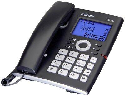 Tel Schnur ( Audioline TEL 136 Schnurgebundenes Telefon, analog Freisprechen Beleuchtetes Di)