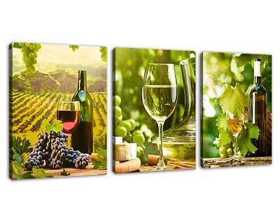 Canvas Prints Grapes Wine Bottles Wall Art Decor - 3 Panels