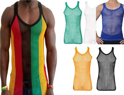 - Rasta Stripe Cotton String Vest Mesh Fishnet Muscle Top Reggae White Black Blue