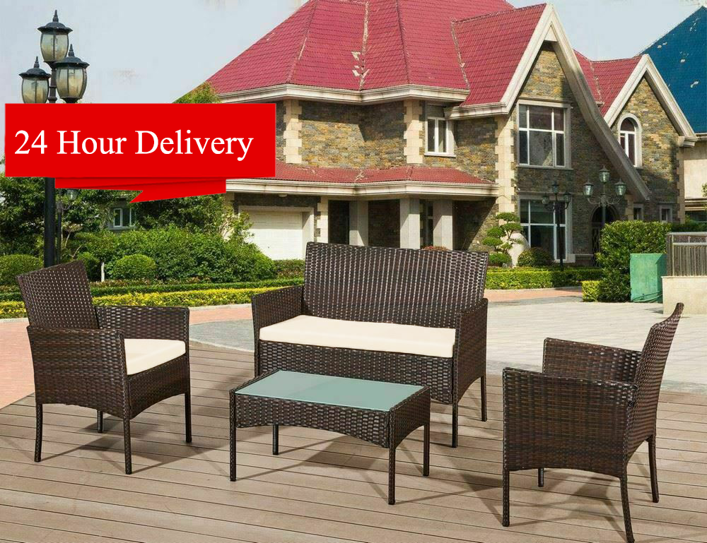 Garden Furniture - 4 Piece Rattan Garden Furniture Set With Chairs Table Patio Outdoor Conservatory