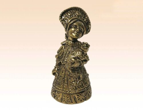 """Hand Bell Girl with Сat National Costume Russian Collectible Bronze 2.56"""""""
