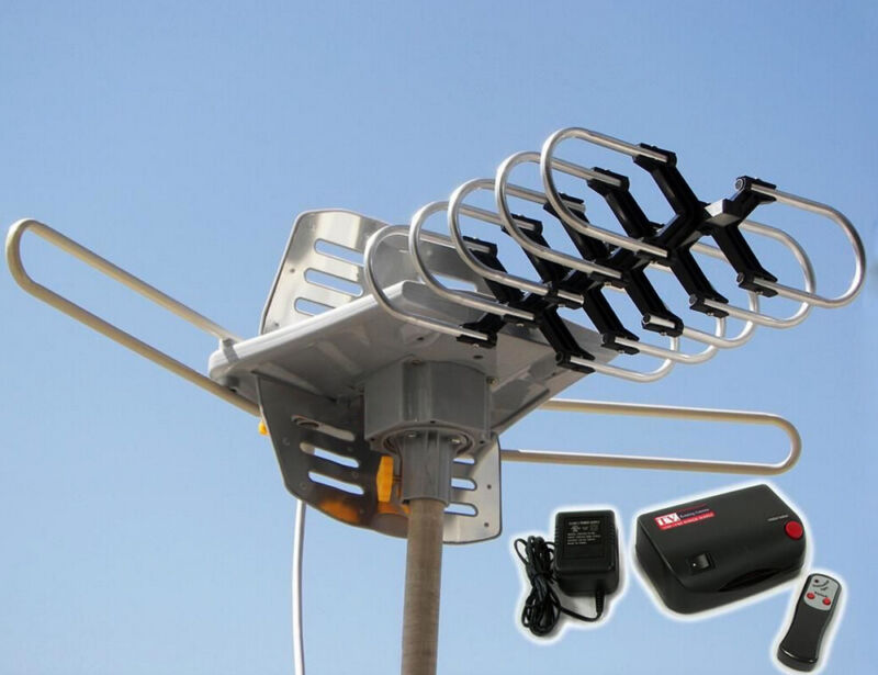 HDTV Outdoor Amplified Antenna HD TV Rotor Remote 360° UHF/VHF/FM
