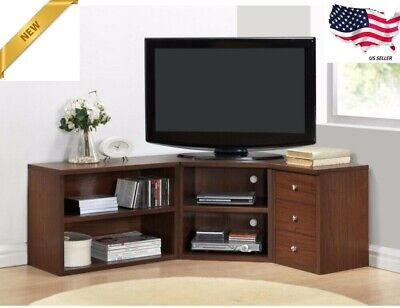 Corner TV Stand Flat Screen Entertainment Center Media Cabinet Console Wood Oak ()