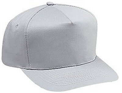 Cotton Twill Five Panel Pro Style Caps, Gray - Pro Style Cotton Twill Cap