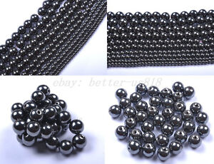 4MM-6MM-8MM-10MM-12MM-Ball-Black-Magnetic-Hematite-Spacer-Charms-Beads-Findings