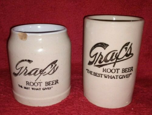 2 Graf's Root Beer TBWG pottery mugs – both different