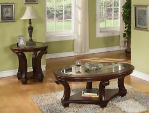 CHERRY COFFEE TABLE WITH GLASS TOP  | CLEARANCE FURNITURE OUTLET HAMILTON -WWW.KITCHENANDCOUCH.COM (BD-322)