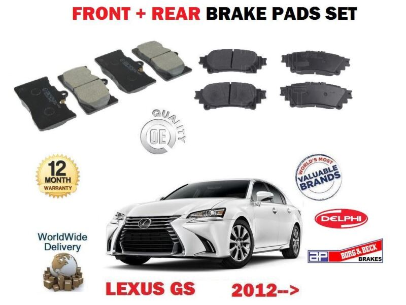 FOR LEXUS GS250 GS300H GS450H 2012-> NEW FRONT + REAR BRAKE DISC PADS SET