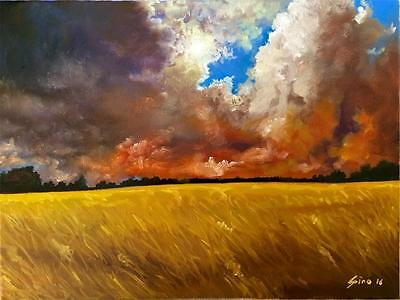 Limited Edition Peaceful Sunset A3 Print of Original Oil Painting Landscape Sky