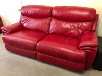 Red leather 3 seater electric recliner sofa, 2 seater manual recliner sofa & electric recliner chair
