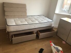 Single bed new with mattress 2 drawer
