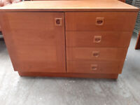 Vintage retro small teak wooden cabinet mid century 60s 70s sideboard chest