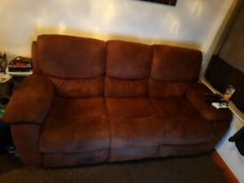 Brown suede 3seater sofa