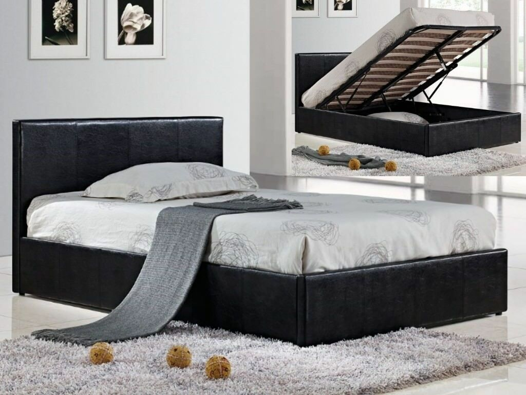 BEST SELLING BRAND* BRAND NEW DOUBLE GAS LIFT LEATHER STORAGE BED w SEMI ORTHOPEDIC MATTRESS