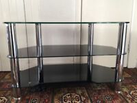 Glass and chrome television stand