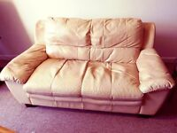 Two seater settee - beige leather £0 - FREE