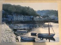70cm * 50cm canvas painting of small boats in front of row of cottages.