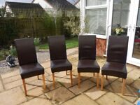 4 x dark brown dining chairs - fluex leather -used - buyer collects