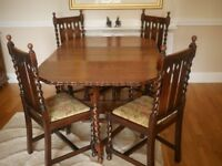 EARLY 20TH CENTRY TABLE AND CHAIRS
