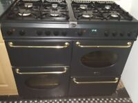 belling countryrange cooker double oven black 100cm,