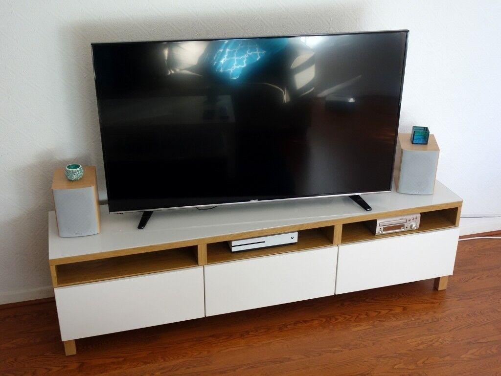 Ikea Besta Tv Stand Cabinet Storage Unit White Natural Wood