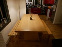 Ikea Norden Dining Table with 2 Benches