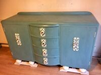 Shabby chic sideboard/dresser,with glass handles,dove tail drawers,very solid unit.