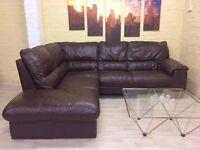 Stylish Brown Leather Corner Sofa