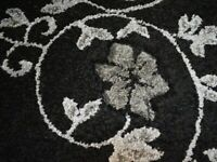 Kensington Floral Pattern Wilton Rug 240 x 150 cm Black 100% Polypropylene
