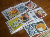 Retro recipe cards x 70 - for decoration display or base for crafts (great 60s colours & design)
