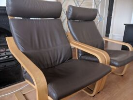 TWO LEATHER IKEA POÄNG CHAIRS FOR SALE (SOLD INDIVIDUALLY OR AS A PAIR)