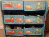 Boys kids car theme blue strorage / toy organizer £15