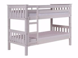 Barcelona Bunk Bed, White Wash finish, Solid Pine, Great Condition, Standard single Bunk Bed