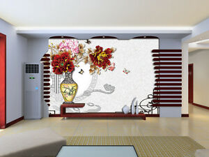 3D Red Flower Plant Vase 2013 Wall Paper Wall Print Decal Wall AJ WALLPAPER CA