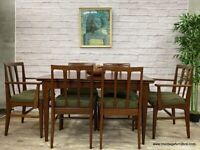 1960 John Herbert for A.Younger Double Extending Dining Table in Afrormosia with 8 Chairs Vintage