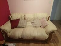 Cream leather sofa for sale used but good condition